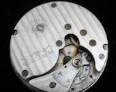 Gorgeous Vintage Antique Pocket Watch Movement Porcelain Face Steampunk Altered Art Assemblage pm 56
