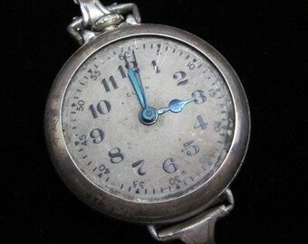 Gorgeous Elgin  Watch Movement Sterling Silver Case Steampunk Altered Art Assemblage Industrial LS 44