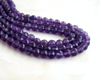 Amethyst Gemstone Faceted Round Purple 5mm 45 beads Full Strand Wholesale