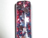 Patriotic Necklace Red White and Blue Star Resin Pendant Charm Glitter Jewelry Necklace FREE SHIPPING