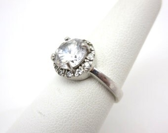 Vintage Sterling CZ Ring - Round Faux Diamond