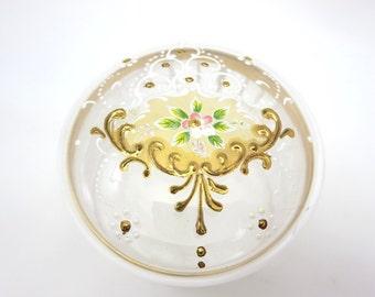 Glass Enamel Powder Box - Trinket Jar Painted Gold
