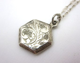 Etched Silver Hexagon Pendant Necklace - Geometric