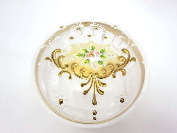 glass enamel powder box trinket jar painted gold. Black Bedroom Furniture Sets. Home Design Ideas