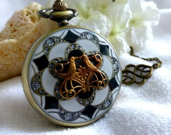 Deco Love Birds Enamel Watch Locket Necklace - Steampunk Pocket Watch in  Mauve or White Black  - Wedding, Graduation Birthday Travel Gift