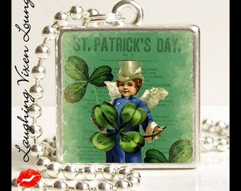 Leprechaun Necklace - St Patricks Day Necklace - Luck Of The Irish Style-C Small Pendant - Square Or Round - St Patricks Day Jewelry