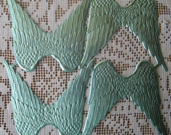 Dresden Angel Wings Made In Germany 4 Large Aqua Embossed Die Cut Paper