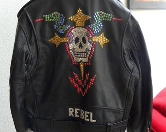 Holiday Sale! Rare 1980s Rock Star Rhinestone Studded Black LEATHER BIKER Moto JACKET Jinx Dawson Couture Rebel Rock Star Star Skull Dragon