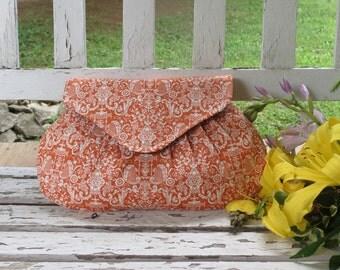 Orange and White Damask Clutch, Bridesmaids Gift, Wedding Accessory, Small Handbag