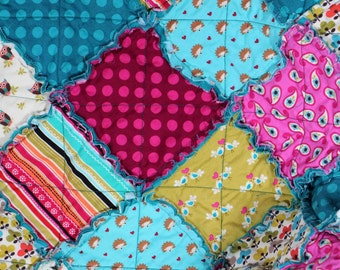 Baby Rag Quilt Ready to Ship Hedgehogs, Owls and Lovebirds