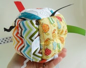 Sensory Baby Toy Block - Jumble Ball with ribbon and rattle- Boy