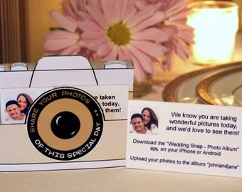 PicShare Boxes Printable (Ivory) -- DIGITAL -- Tell your wedding guests how to share photos online!  (alternative to disposable cameras)