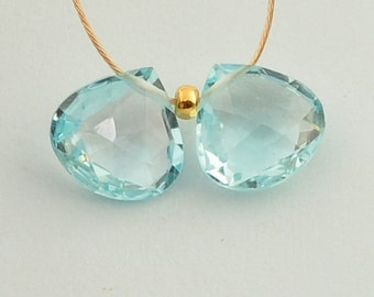 8mm Sky Blue Topaz Faceted Calibrated Heart Briolette Beads PAIR