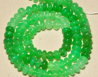 "6.6mm-7mm Large Australian Chrysoprase Smooth Rondelle Beads 16"" Strand"