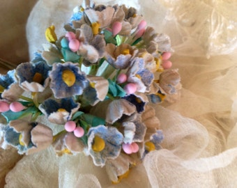 1 BOUQUET   VINTAGE Millinery Flowers Forget Me Nots Pastel Blue with Pink Composition Buds  for Weddings - Mothers Day & Easter
