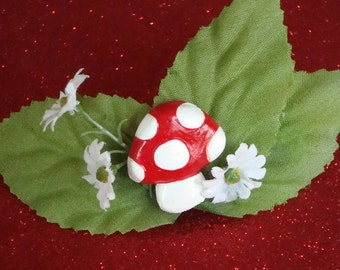 Toadstool Barrette ~ Woodland Hair Clip