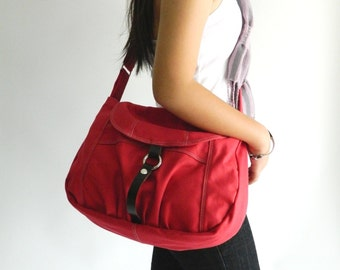 Red Messenger bag,Canvas diaper bag,women Purse, Handbag for her ,Cross body bag , shoulder bag/  SALE 30% - no.103 CLAIRE