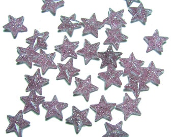 11mm Plastic star beads lavender and glitter 40pcs
