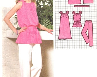 1970s Dress Pattern Tunic Top Pants Simplicity Vintage Super Jiffy Sewing Women's Misses Size Petite 6 - 8 Bust 30 .5 - 31 .5 Inches