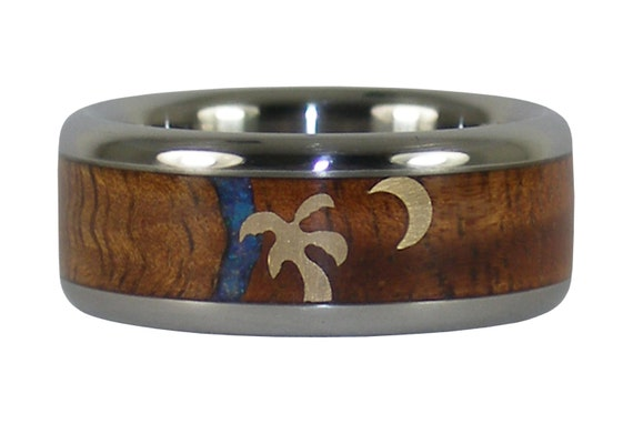 Palm Tree and Moon Koa and Opal Ring