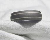 Titanium Silver Ring Wedding Band Sandblasted Pinstripe Dome