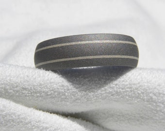 Titanium Silver Ring Wedding Band Sandblasted Pinstripe Dome