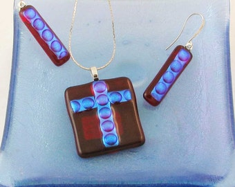 Electric Red & Blue fused glass earrings or Cross - dichroic fused glass jewelry (3595, 3596, 3701)