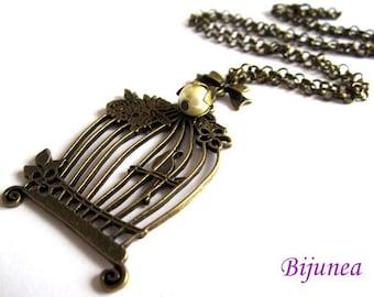 Bird cage necklace - Bird necklace - Bird cage necklace - Key pearl necklace - Bird necklace n569