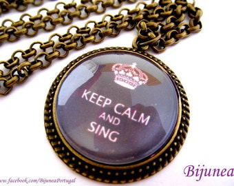 Keep calm and sing necklace - Keep calm necklace - Purple keep calm necklace - Keep calm and sing necklace n721