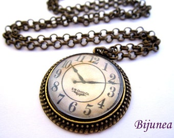 Clock necklace- Watch necklace - Time necklace - Steampunk necklace - Watch necklace n606