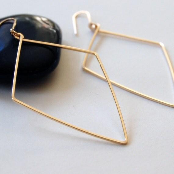 Extra Large Diamond Drop Earrings in 14K Gold Filled - Modern, Simple Jewelry - XL - Long Earring - by kusu