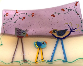 Whimsical colorful birds on plum and ivory fused glass rectangle platter