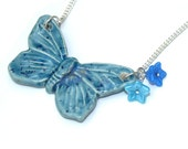 Blue Butterfly Necklace, Ceramic Pendant, Clay Butterfly, Animal Necklace