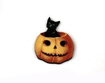 Halloween Brooch, Jack O Lantern, Pumpkin Brooch, Black Cat Brooch, Halloween Badge