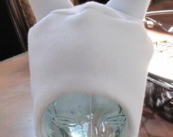 Fiona white fleece ear flap hats in 6 sizes