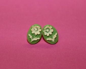 Tiny Green Daisy Flower Cameo Earrings