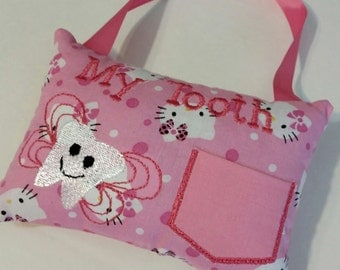Pink Tooth Fairy Pillow Hello Kitty Cat Embroidery Hanger Gift Girl Pocket Bow Bedroom Gift Money