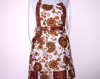 Womans Gold Floral Apron, Rust Cream Gold Womens Apron, Metallic Full Apron, Cute Kitchen Apron With Gold and Rust Flowers on Cream