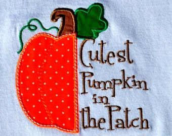 Cutest Pumpkin in the Patch appliqued shirt - great for Halloween or Thanksgiving