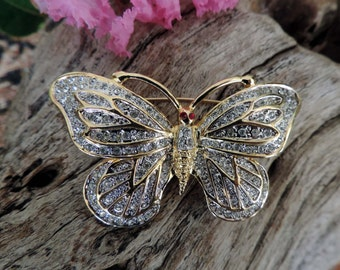 Vintage Golden Rhinestone Large Butterfly Brooch