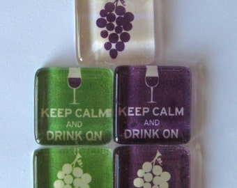 Wine and Grapes Square Glass Magnets Set of 5