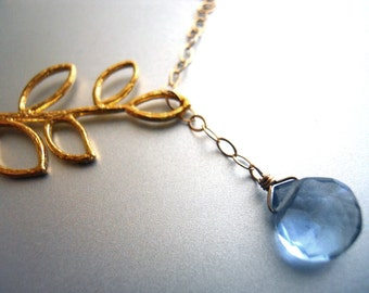 Lariat Necklace, Branch Lariat Necklace with Forget-me-not Blue Quartz, Gold Filled, Gemstone lariat necklace, bridesmaid gift, gift idea