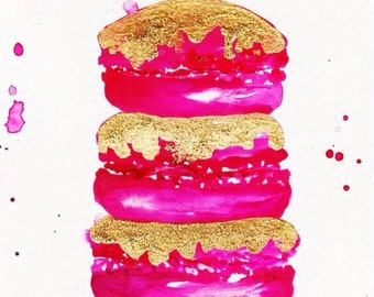Pink and Gold Macaroons  Print of Watercolor Illustration