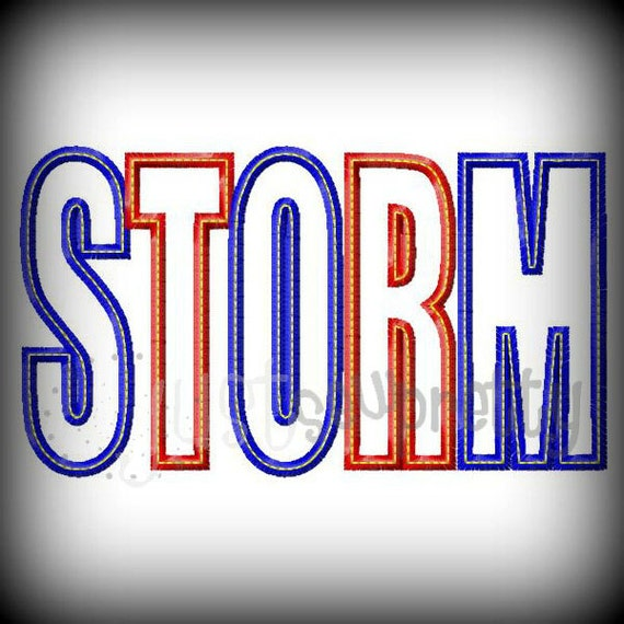 Storm word embroidery applique design