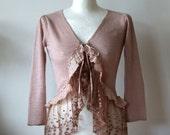 Cropped cardigan shrug, linen bolero, golden rose, dusty pink lagenlook shrug & vintage lace and a silk ruffle, romantic 3/4 sleeves shrug