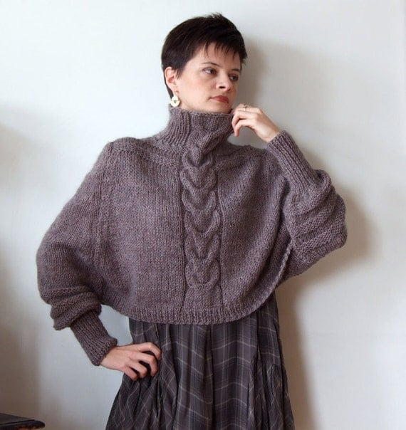 Knitting Pattern For Cape With Sleeves : Braided CAPE with sleeves SHRUG hand knitted trendy cropped