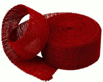 """10 YardsDark Red Burlap Ribbon  2-1/2"""" x 10 Yards SALE"""