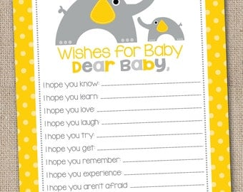 Printable Baby Wishes Yellow & Gray Elephants and Polka Dots INSTANT DOWNLOAD PDF