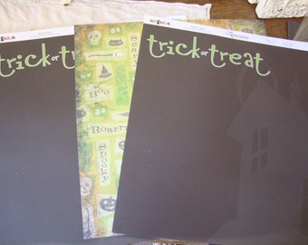 Halloween scrapbooking paper 12x12 black and green old paper retired designs craft supplies for fall trick or treat and haunted house