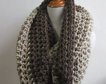 Oversized Scarf, Super Scarf, Ombre Scarf, Oversized Knit Scarf, Huge Infinity Scarf, Loop Scarf, Circle Scarf, Snood, Brown